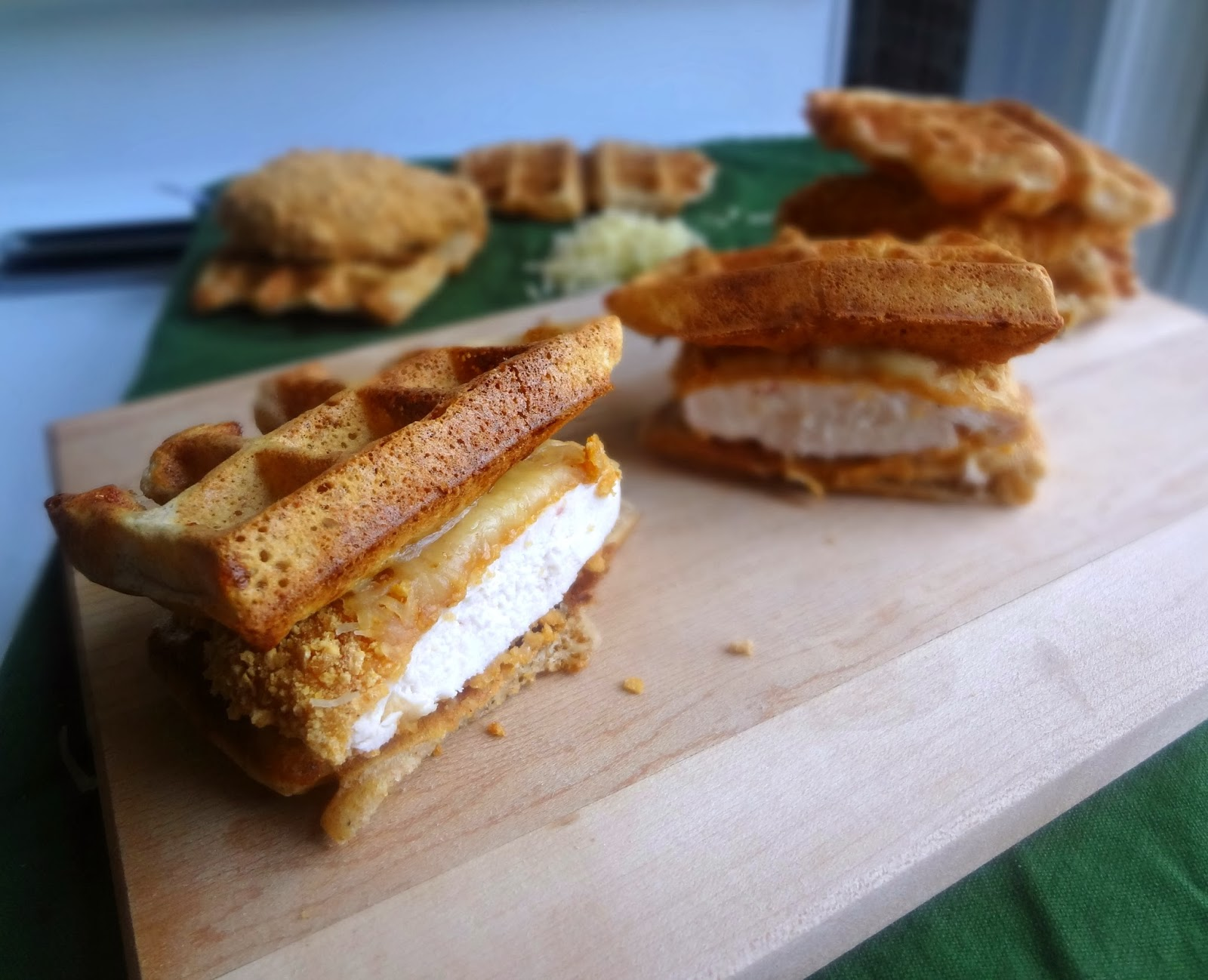 {Healthier} Chicken and Waffle Sliders