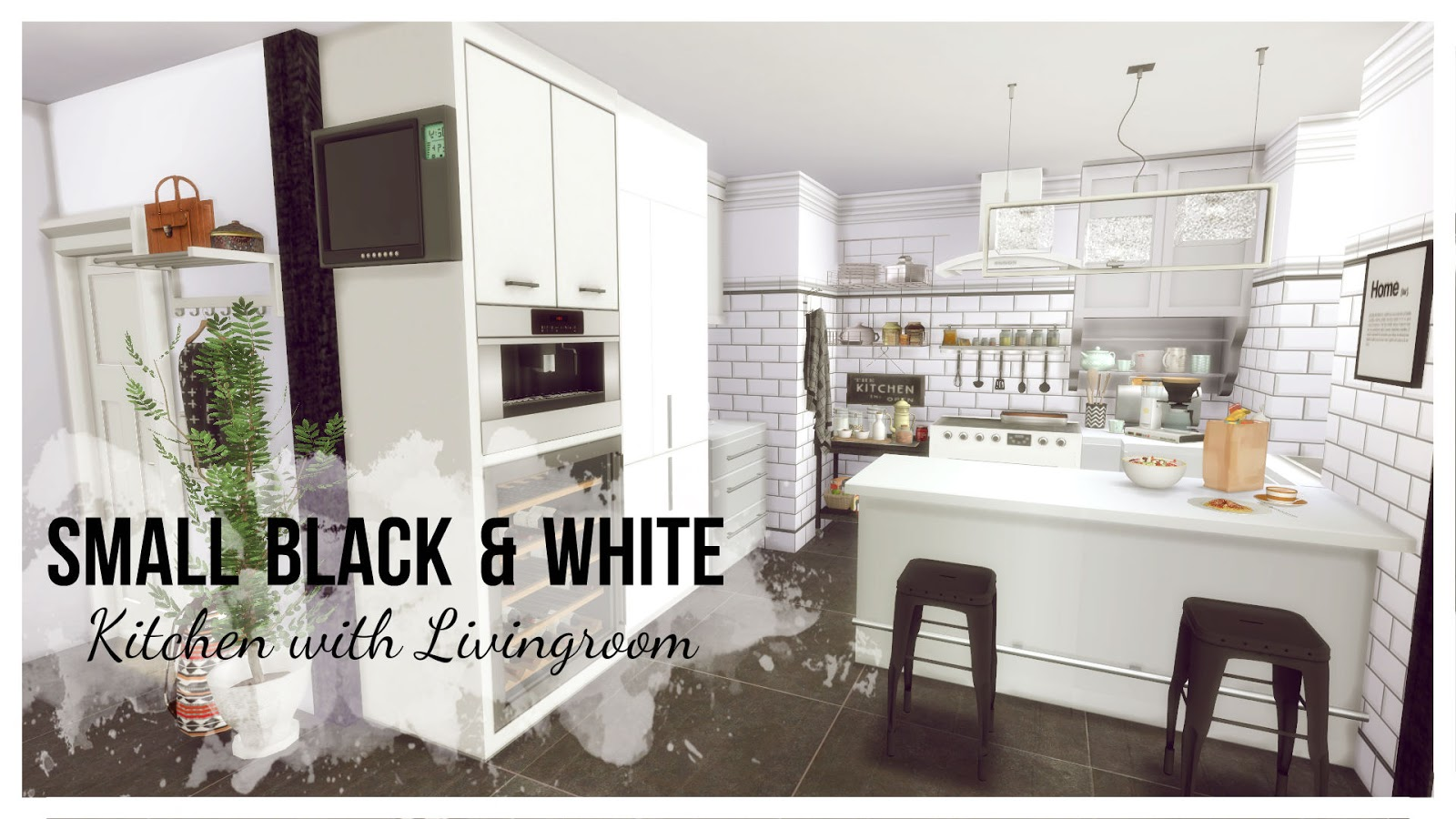 Sims 4 - Small Black & White Kitchen with Livingroom (Room ...