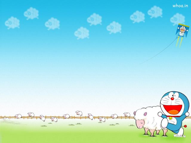 Doraemon With Sheep Desktop Wallpapers