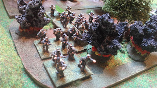 German infantry under artillery fire