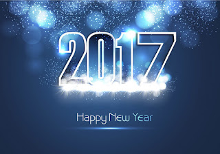 happy new year 2017 ecard vector shiny blue