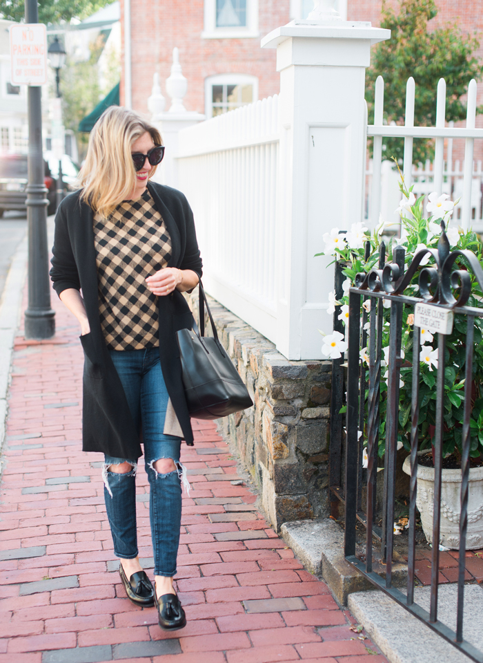 J.Jill brown and black checked top