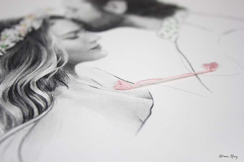 Dibujo a lápiz y bordados sobre papel