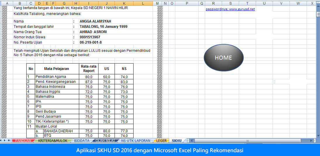 Aplikasi SKHU SD 2016 dengan Microsoft Excel Paling Rekomendasi
