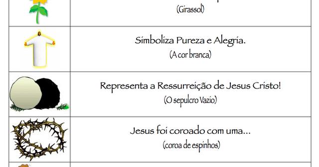 23 09 B 1 Atividades Preparatórias 2 Ofertas: JORNAL R 7ª: Símbolos Da Páscoa E Seus Significados