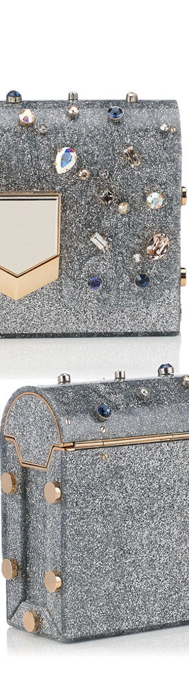 Jimmy Choo Lockett Minaudiere Silver Glitter Acrylic Clutch Bag with Multi Coloured Crystals