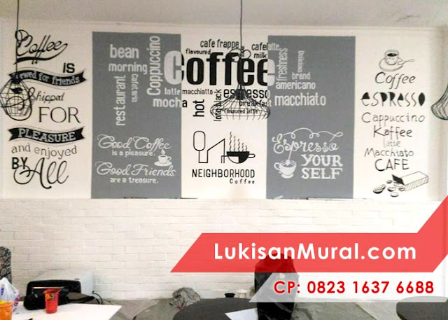 Lukisan Dinding Cafe Hitam Putih