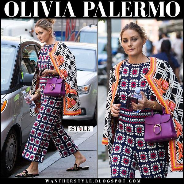 Olivia Palermo in square crochet blue and red jumpsuit farm rio and velvet mules alberta feretti