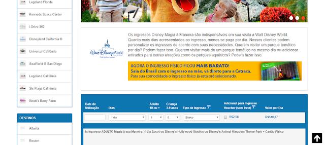 Site para a compra de ingressos dos parques da Califórnia