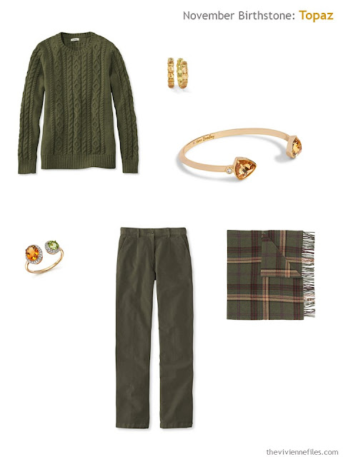 olive green outfit with citrine and topaz accessories