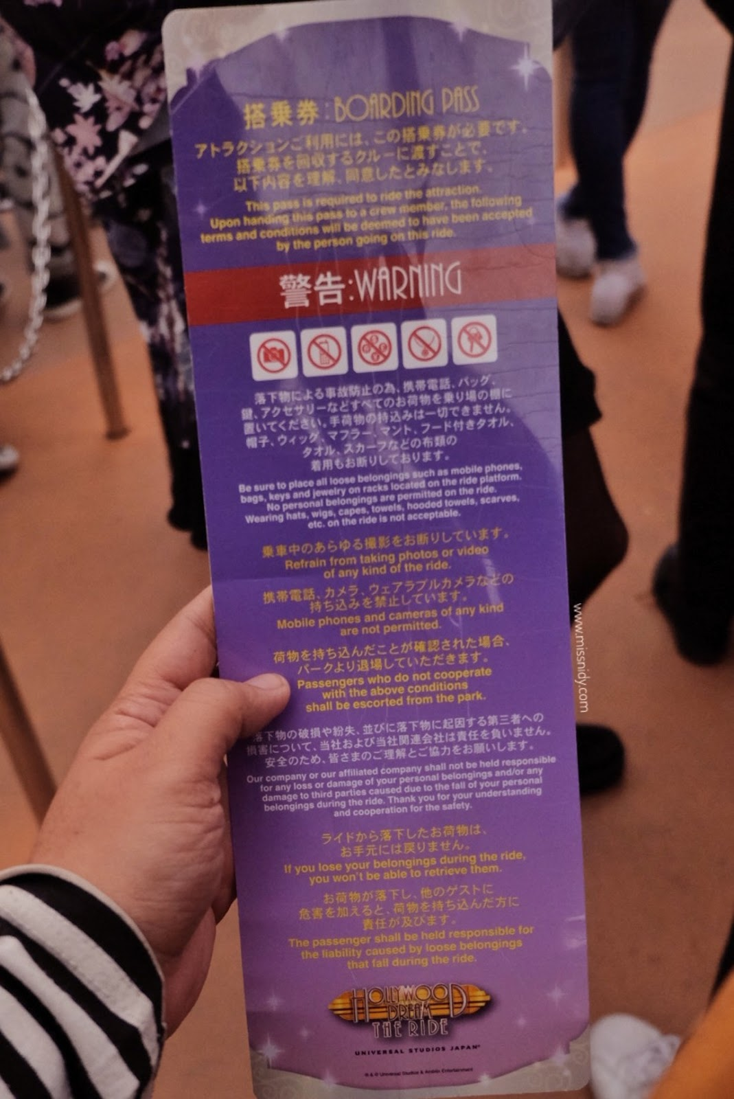 RULES IN UNIVERSAL STUDIO JAPAN