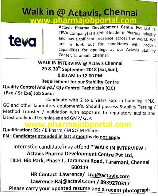 Actavis Pharma (a TEVA Company) Walk-In Interview For B.Sc, B.Pharm, M.Sc, M.Pharm at 29 & 30 Sep