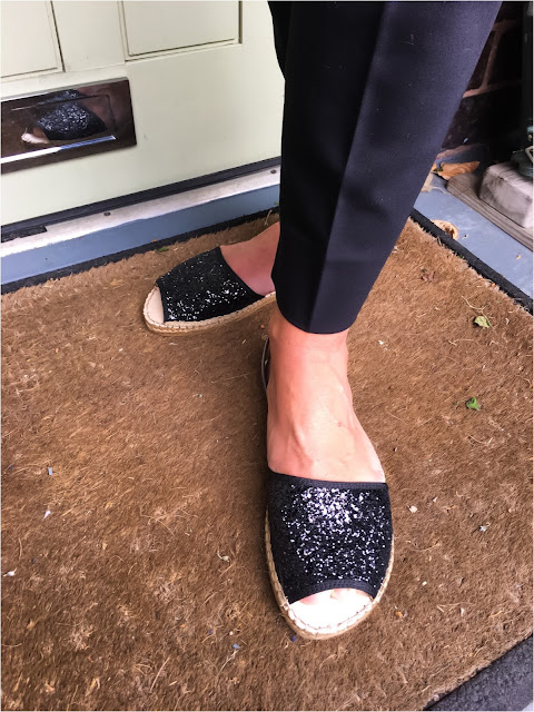 My Midlife Fashion, Macerena playa black giltter espadrilles, the womens society