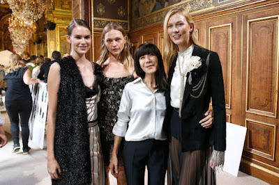 Bouchra Jarrar with models after the Lanvin show. Photo: Bertrand Rindoff Petroff/Getty Images