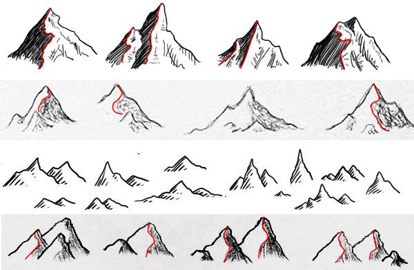 line drawn mountains