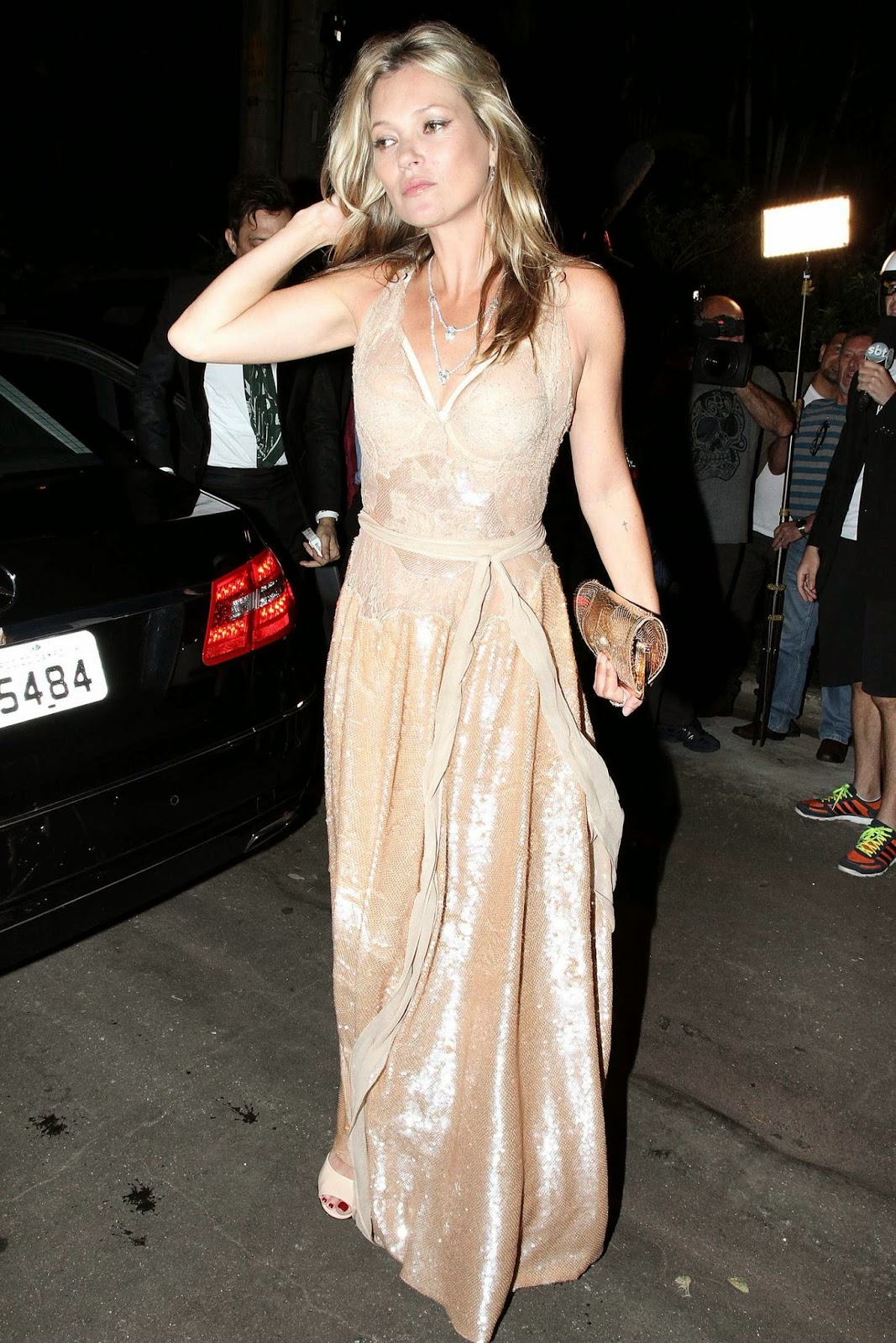 Kate Moss dazzles in rose gold at the 5th Annual amfAR Inspiration Gala in Sao Paulo