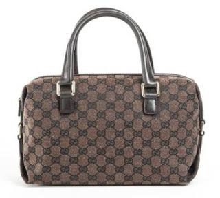 Gucci Guccissima Brown Canvas Boston Handbag