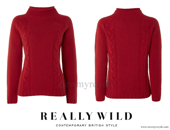 Kate Middleton wore Really Wild Clothing Cashmere Mix Cable Crew Sweater in ruby