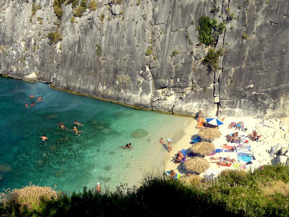 zakynthos  greece  north xigia beach sulphur springs and