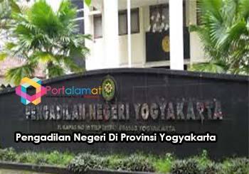 Alamat kantor Pengadilan Negeri Di Provinsi Yogyakarta
