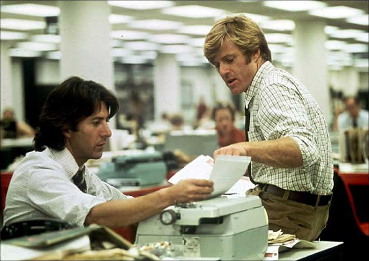 Woodward and Bernstein uncover a conspiracy in All the President's Men.