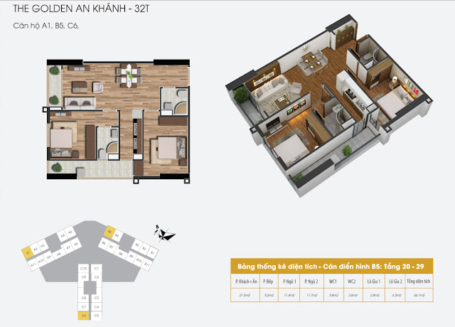Thiết kế căn hộ A1 B5 C6, dt 66m The Golden An Khánh