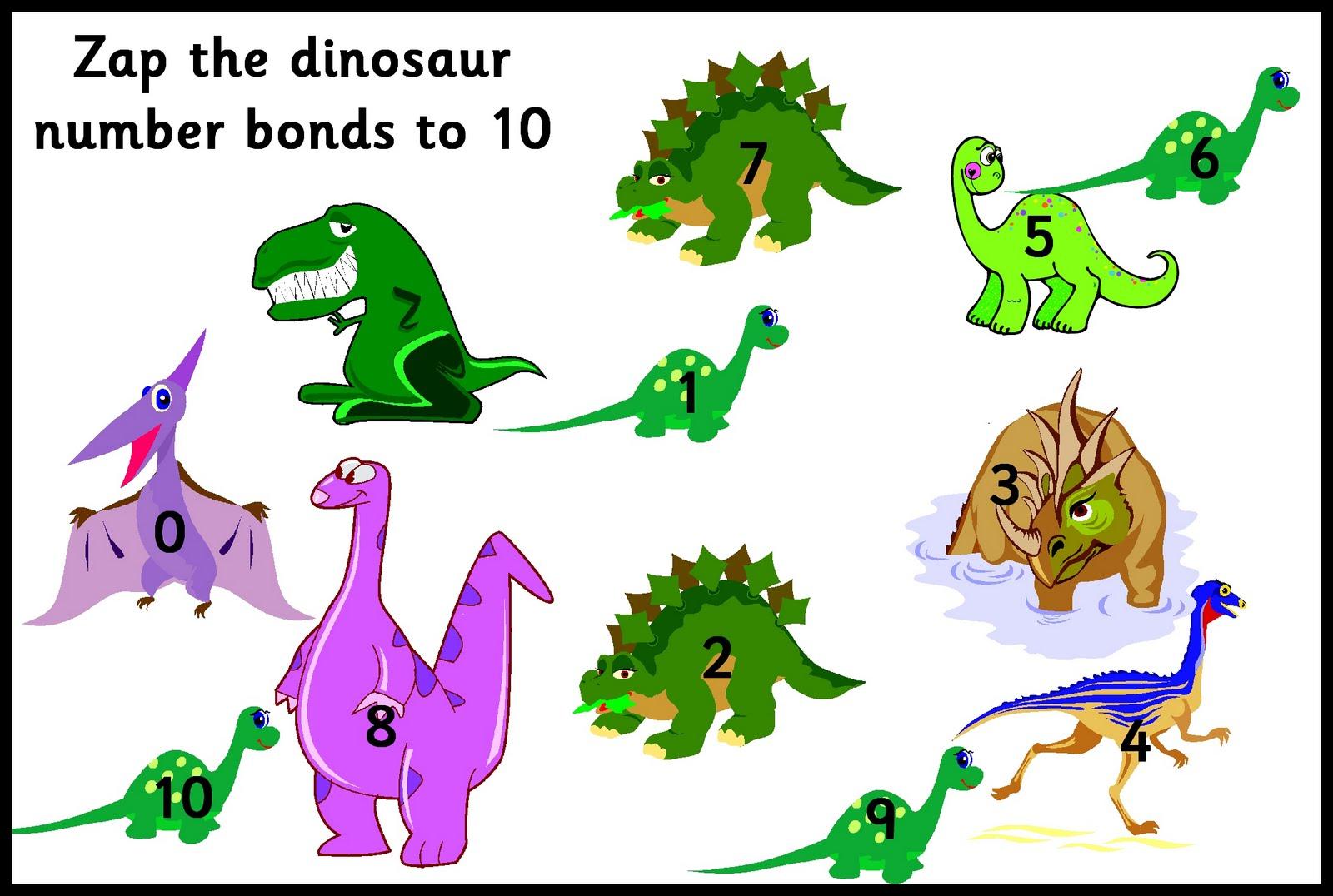 Debbie S Resource Cupboard Zap The Dinosaur Number Bonds To 10