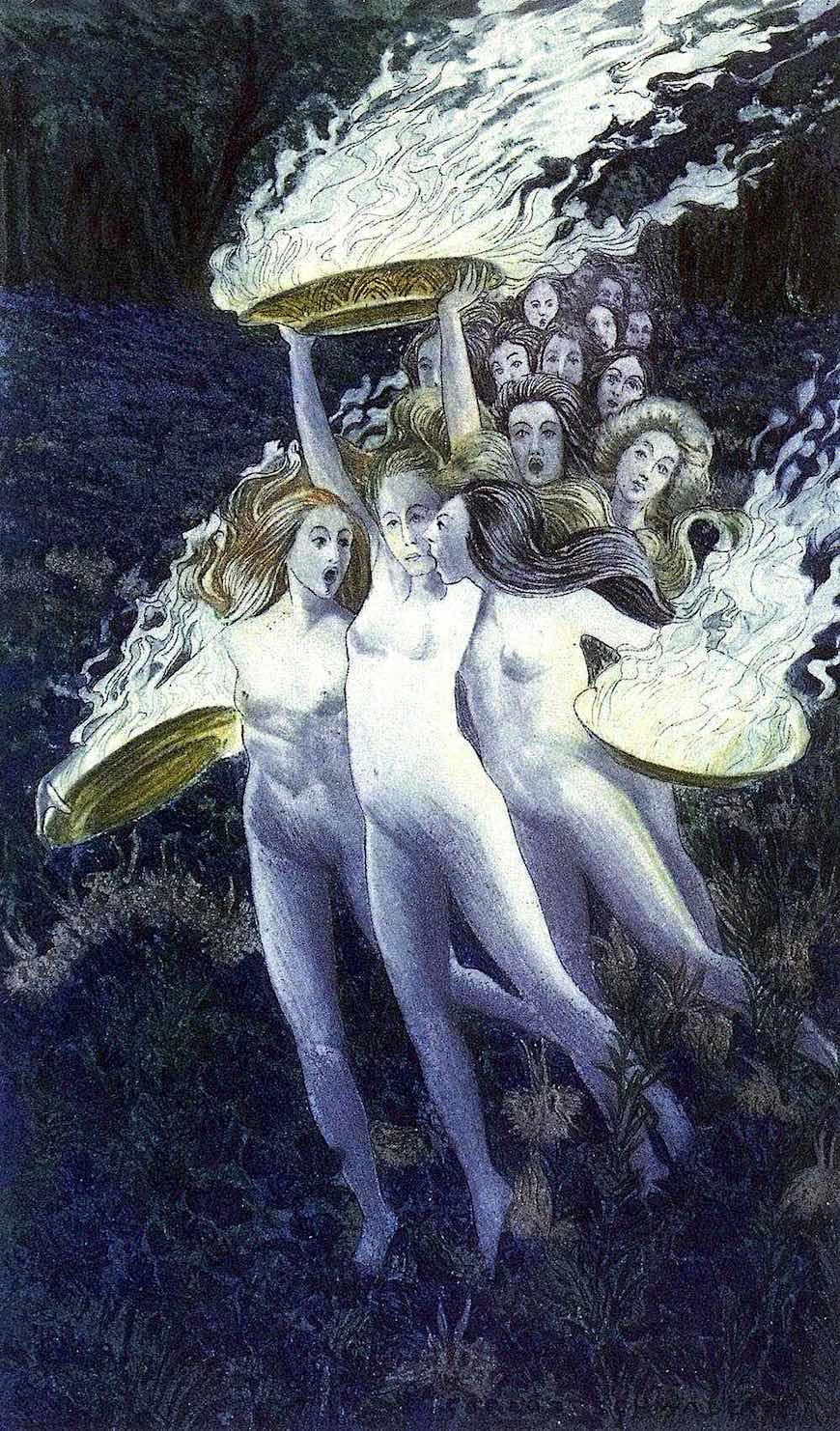 Carlos Schwabe art, a procession of women