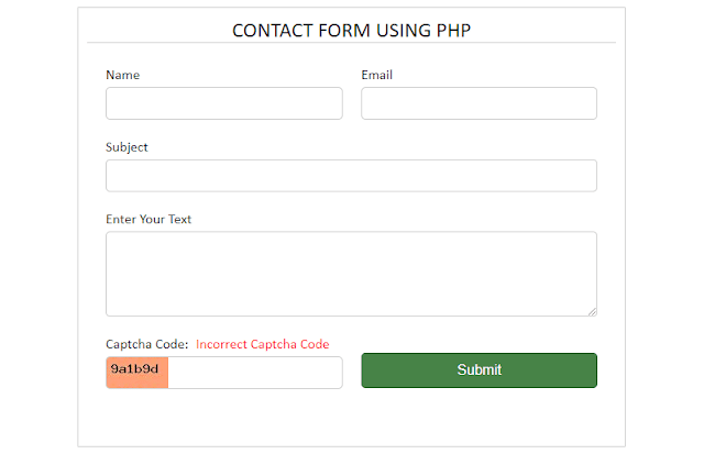 Contact Form PHP Using Captcha