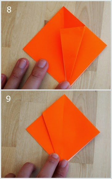 steps 8 and 9 showing how to fold an origami pumpkin