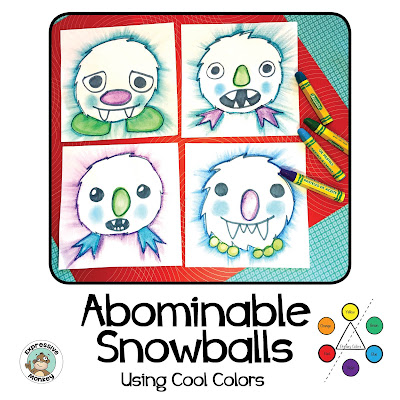 See the steps to make an abominable snowball flying through the sky.  This fun winter drawing idea uses markers and oil pastels to make an art lesson kids will love!  Great for your first art project after break, or after a snow day.  Sneak in a little review of cool colors too :-)