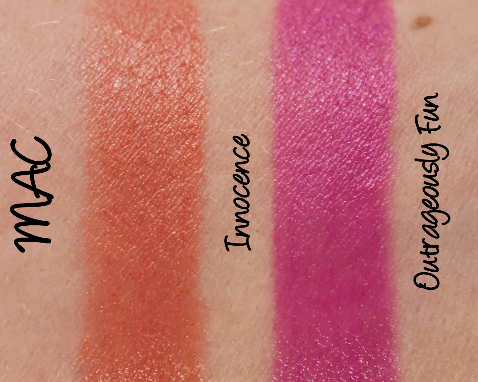 Mac Monday Glamour Daze Innocence And Outrageously Fun Lipsticks Swatches Review Lani Loves