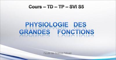 COURS de Physiologie des Grandes Fonctions SVI Semestre S5 PDF à Télécharger SVT 5