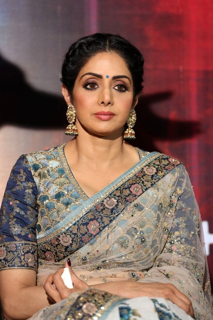 Actress Sridevi Kapoor Stills In Blue Saree At Mom Hindi Movie Trailer Launch