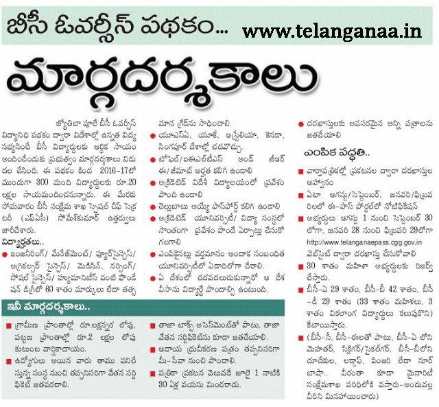 Telangana TS Mahatma Jyotiba Phule BC Overseas scholarships apply