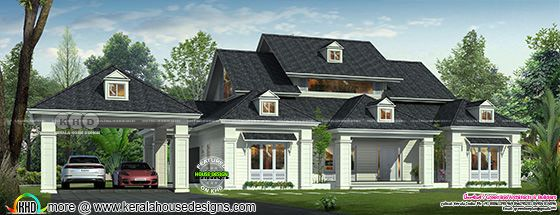 Rendering of a Colonial model single floor bungalow with dark blue color roof