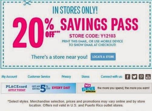 Childrens Place Printable Coupons May 2018