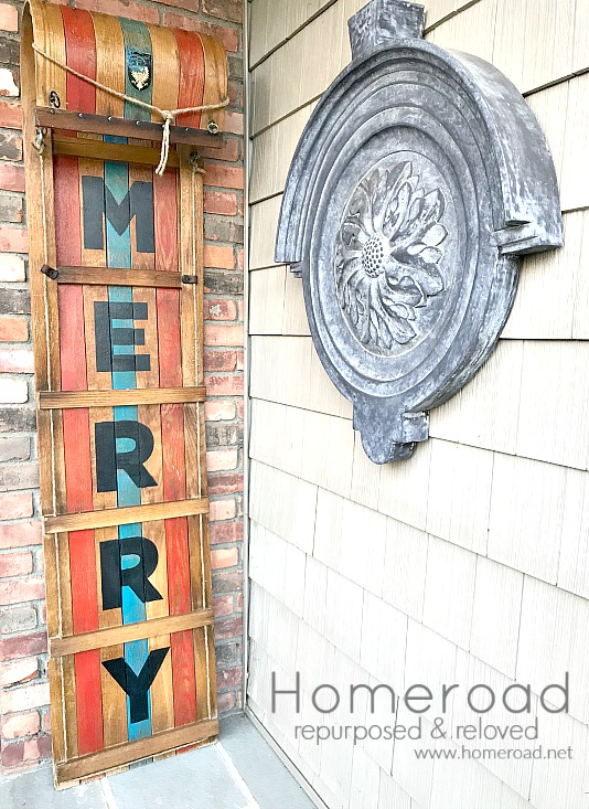 DIY Hemp oil and stenciling A Vintage Toboggan for Christmas. Homeroad.net