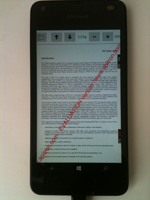 Pic. 2 Apitron PDF Rasterizer based PDF Viewer control running on Lumia 550 (Windows 10)