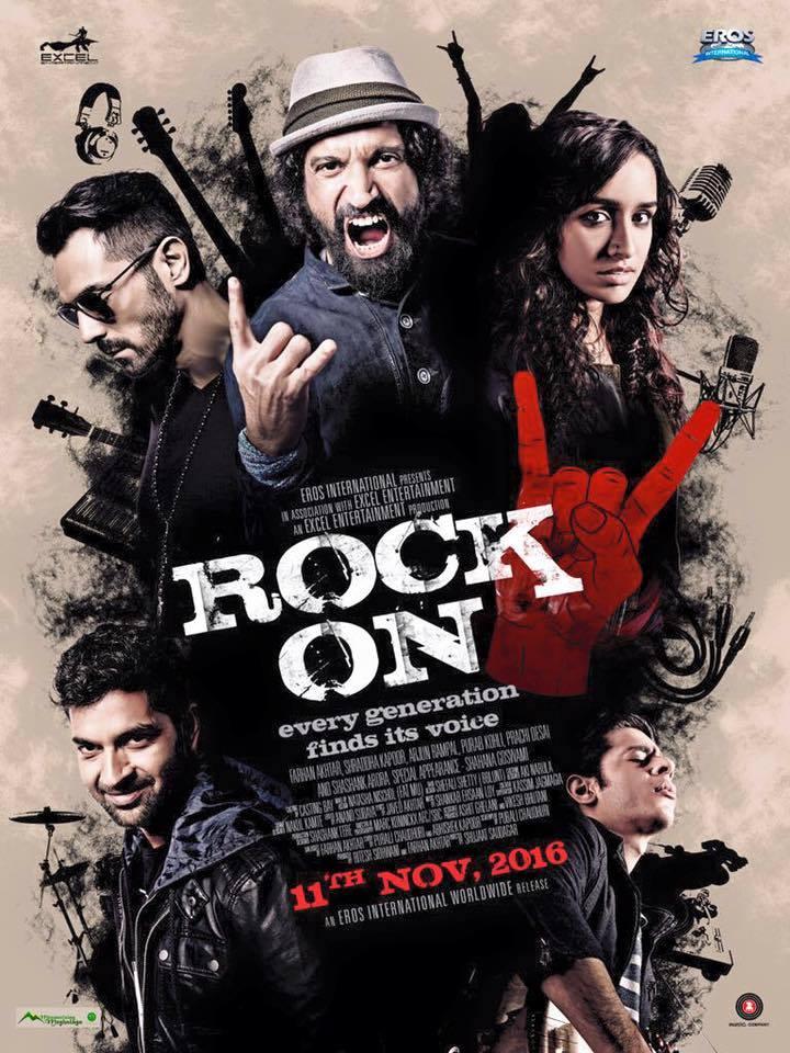 arhan Akhtar, Arjun Rampal, Shraddha Kapoor New Upcoming movie Rock On 2 poster