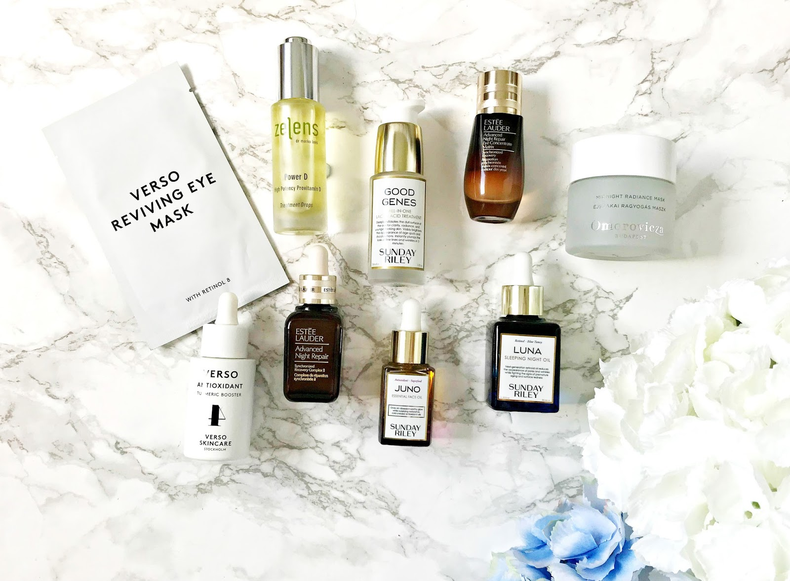 Sunday Riley, Good Genes, Skincare, Juno, Luna, Estée Lauder Advanced Night Repair, Verso Turmeric Booster, Verso Reviving Eye Mask, Estée Lauder Advanced Night Repair, Omorovicza Midnight Radiance Mask,  Review