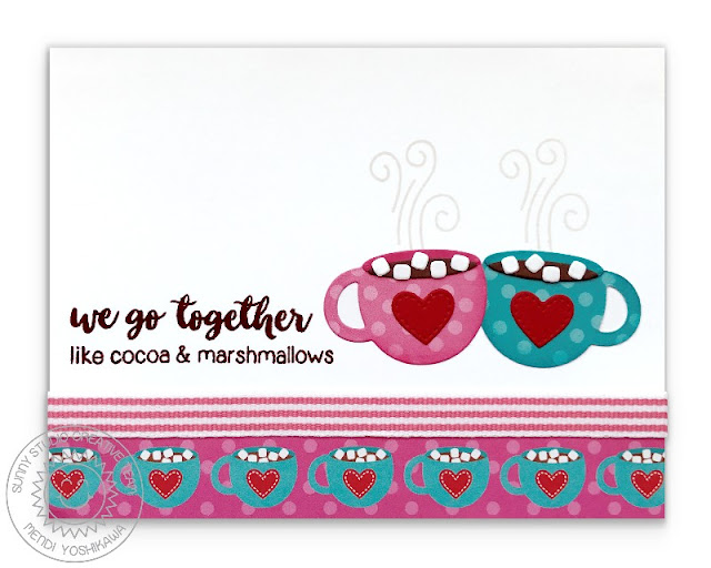 Sunny Studio Stamps: Warm & Cozy We Go Together Like Cocoa & Marshmallows Holiday Card by Mendi Yoshikawa
