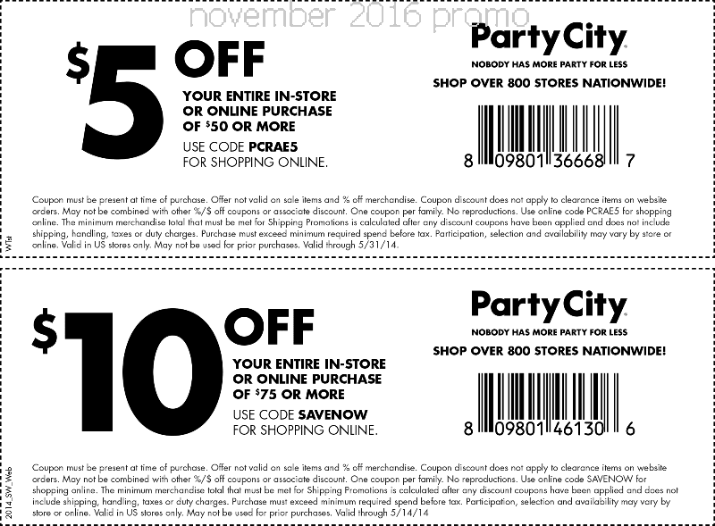 Party city discount coupons