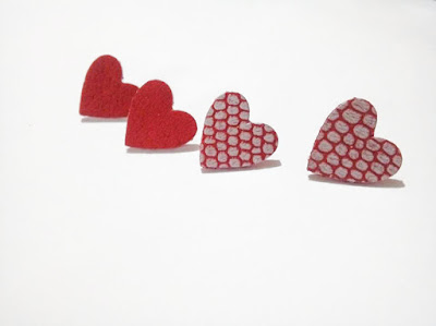 stud leather earrings, heart leather earrings, red leather earrings, heart earrings, leather jewelry, uniqueleatherdesign