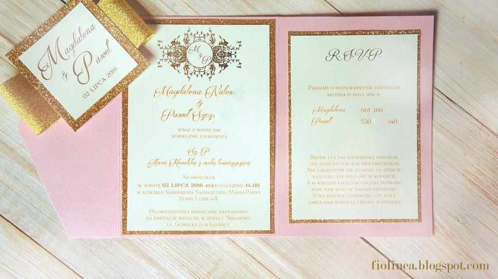 Fiolinea ślubna Galanteria Papiernicza Luxury Pink Gold W