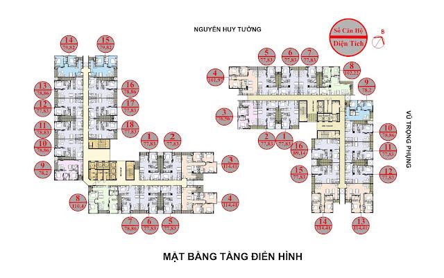 Mặt bằng căn hộ chung cư 69 Vũ Trọng Phụng