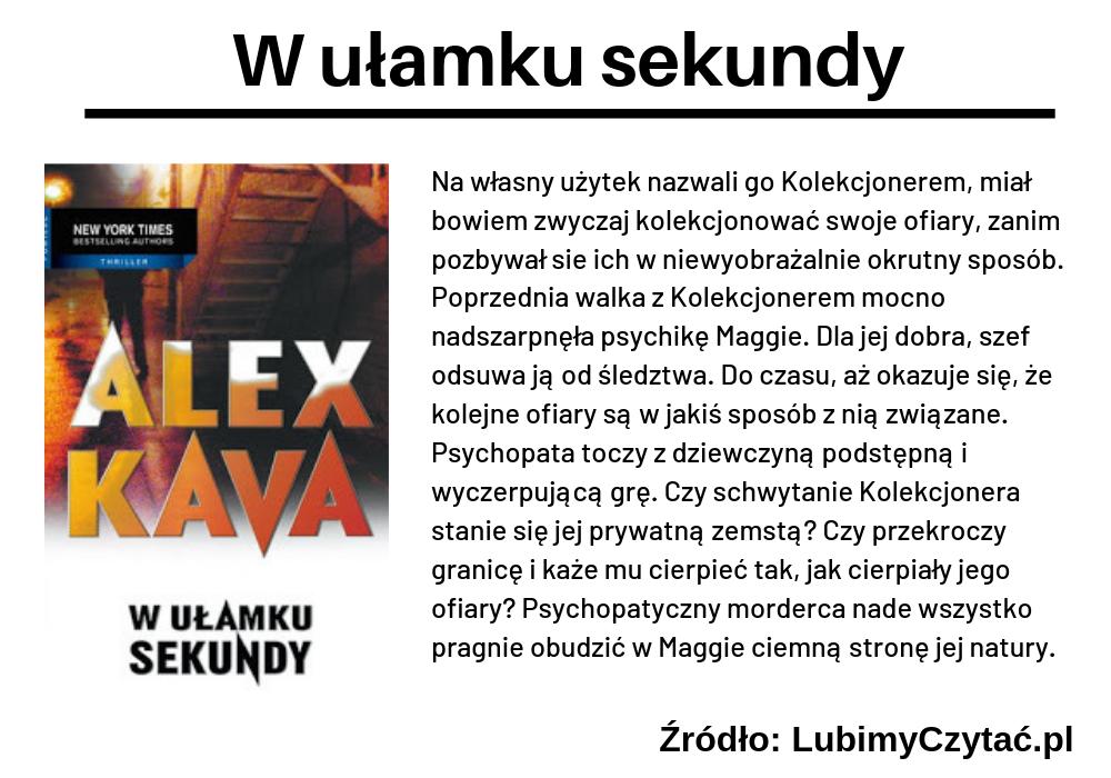 Alex Kava, W ułamku sekundy, TOP 5, Marzenie Literackie