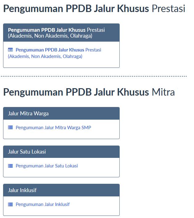 Pengumuman PPDB Surabaya Jalur Prestasi Mitra Warga Satu Lokasi dan Jalur Inklusif