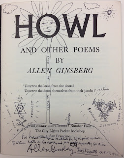 "A title page for ""Howl,"" with doodles and handwriting by the author."
