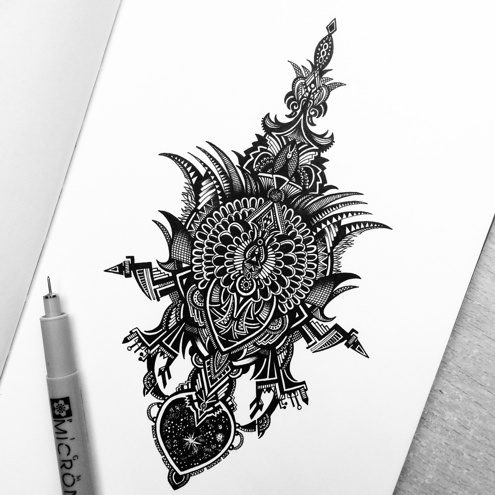 03-Galaxy-Contraption-Pavneet-SembhiSelf-taught-Artist-Creates-Intricate-and-Detailed-Drawings-www-designstack-co
